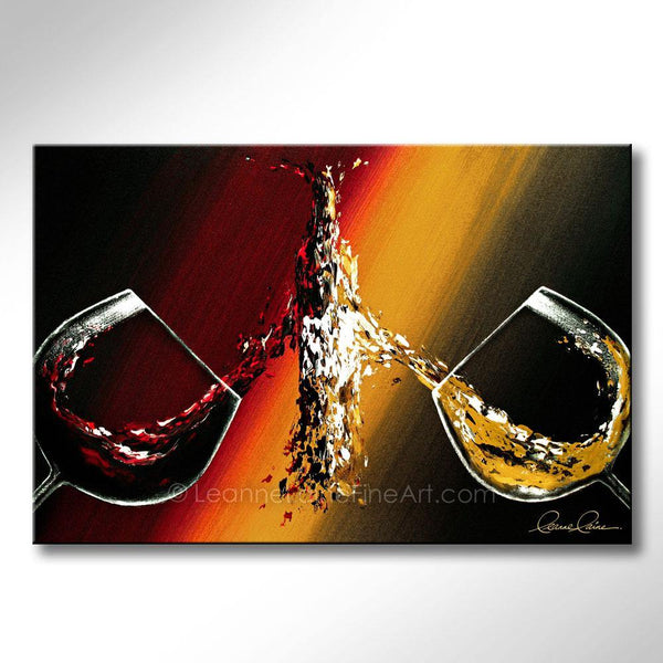 Leanne Laine Fine Art painting of bottle being created between two splashing red and white wine glasses