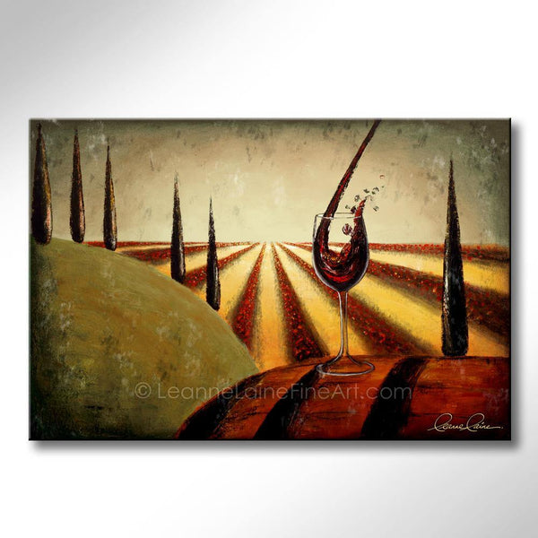 Leanne Laine Fine Art original artist painting of red wine pouring into glass resting on barrel overlooking winery vineyard