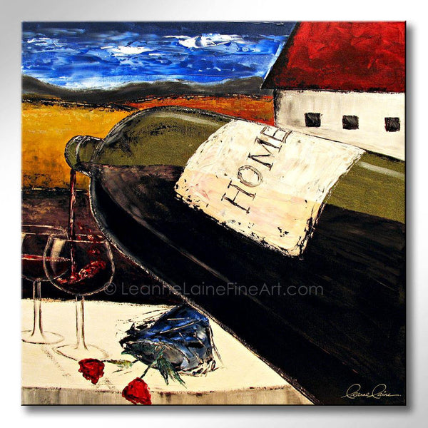 Leanne Laine Fine Art painting of big bottle with home on the label pouring red wine into glasses with flowers at winery