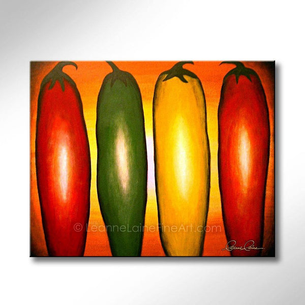 Leanne Laine Fine Art original artist painting of red yellow and green peppers in sunset