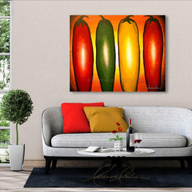 Leanne Laine Fine Art original artist painting displayed above couch of red yellow and green peppers in sunset