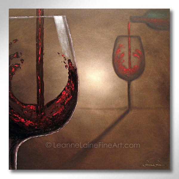 Leanne Laine Fine Art original artist painting of red wine pouring into glass from bottle with shadow silhouette