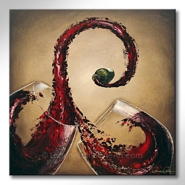 Leanne Laine Fine Art painting of red wine splashing and pouring from bottle swirling into two glasses