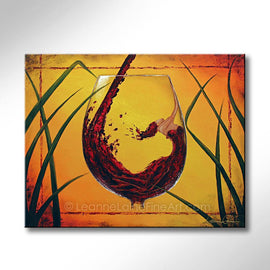 Leanne Laine Fine Art original artist painting of beautiful woman in red wine glass with yellow background
