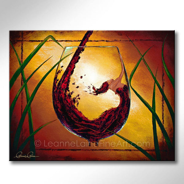 Leanne Laine Fine Art original artist painting of beautiful woman in red wine glass with yellow sunset background