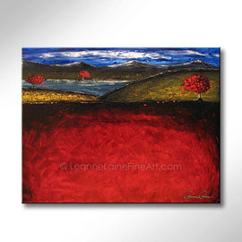 Leanne Laine Fine Art original artist painting of red leaves blowing in autumn by water lake and hills