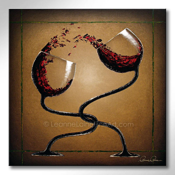 Leanne Laine Fine Art original artist painting of two red wine glasses hugging and splashing together