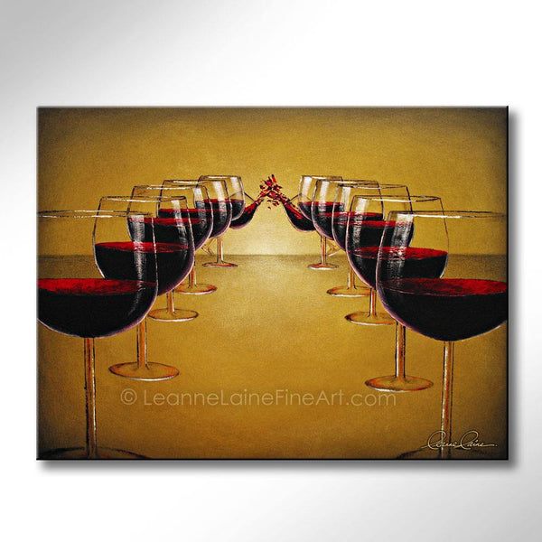 Leanne Laine Fine Art original artist painting of twelve red wine glasses  poured and splashing
