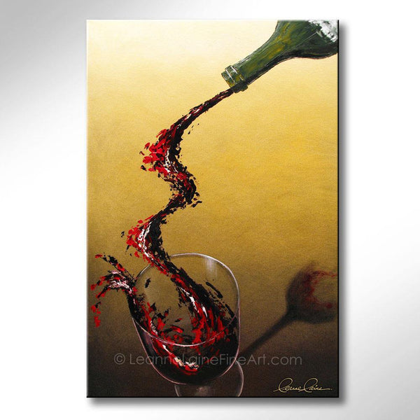 Leanne Laine Fine Art original artist painting of green bottle pouring and splashing red wine into glass
