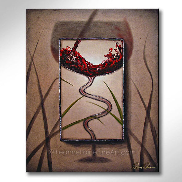 Leanne Laine Fine Art original artist painting of red wine pouring and splashing into dancing glass