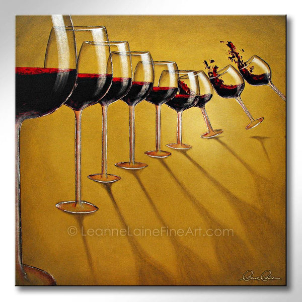 Leanne Laine Fine Art original artist painting of nine wine glasses splashing falling down like dominos