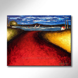 Leanne Laine Fine Art original artist painting of seascape landscape of red path and blowing trees with house and sailboats in the water