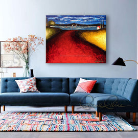 Leanne Laine Fine Art original artist painting displayed above of seascape landscape of red path and blowing trees with house and sailboats in the water
