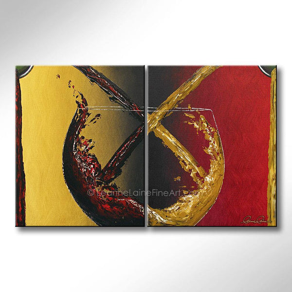 Leanne Laine Fine Art original artist painting of red and white wine pouring and splashing from bottles and large glass