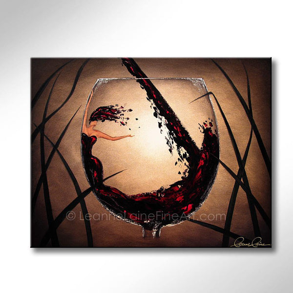Leanne Laine Fine Art original artist painting of beautiful woman in red wine glass