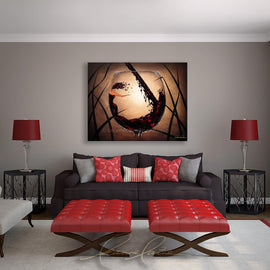Leanne Laine Fine Art original artist painting displayed above couch of beautiful woman in red wine glass