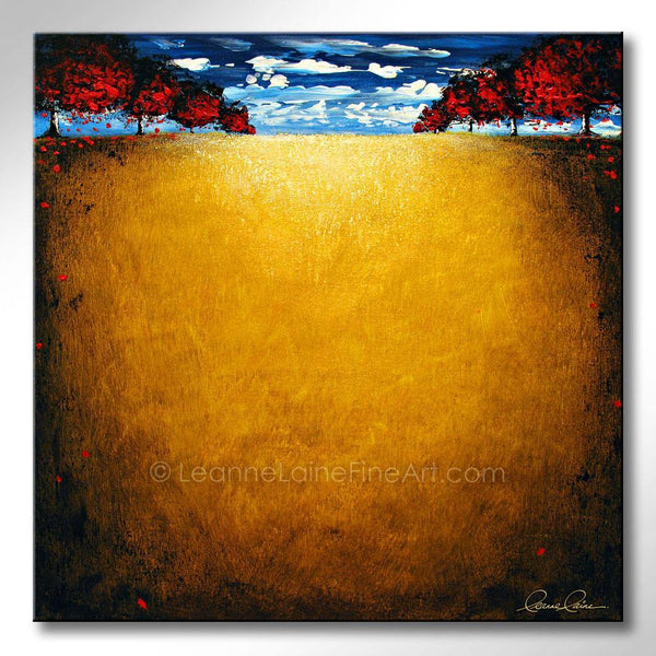 Leanne Laine Fine Art original artist painting of red trees blowing leaves on yellow grass field with beautiful nature blue sky