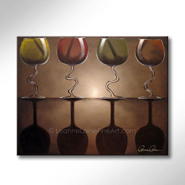 Leanne Laine Fine Art original artist painting of red yellow green and orange wine glasses dancing with shadows