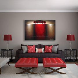 Leanne Laine Fine Art original artist painting displayed above couch of red maroon trees on hill