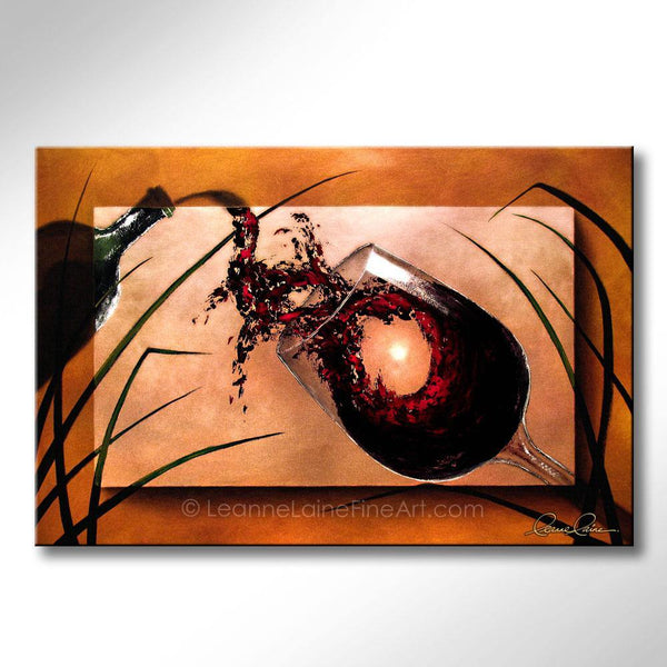 Leanne Laine Fine Art original artist painting of bottle pouring splashing red wine into glass