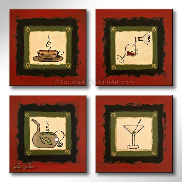 Leanne Laine Fine Art original artist painting of four red black green squares of coffee wine tea and martini for kitchen