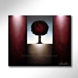 Leanne Laine Fine Art original artist painting of red  tree in nature autumn landscape