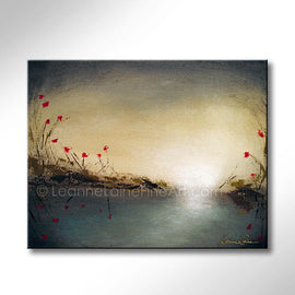 Leanne Laine Fine Art original artist painting of red rose lily flowers growing beside river stream