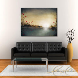 Leanne Laine Fine Art original artist painting displayed above couch of red rose lily flowers growing beside river stream