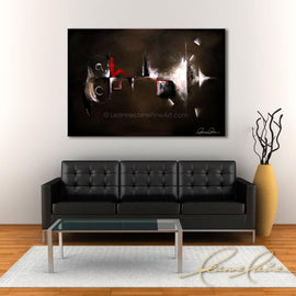 Leanne Laine Fine Art original artist painting displayed above couch of red figure in shapes on abstract background