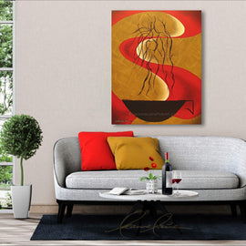 Leanne Laine Fine Art original artist painting displayed above couch of romantic couple in steam of big black coffee cup