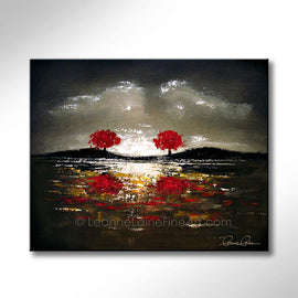 Leanne Laine Fine Art original artist painting of two red trees in nature along water edge
