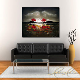 Leanne Laine Fine Art original artist painting displayed above couch of two red trees in nature along water edge