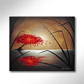 Leanne Laine Fine Art original artist painting of red tree blowing autumn leaves over water