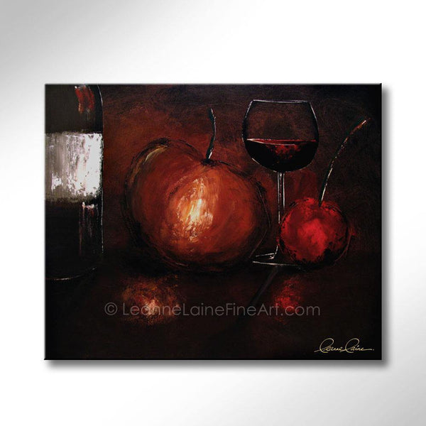 Leanne Laine Fine Art original artist painting of red wine and bottle with apples