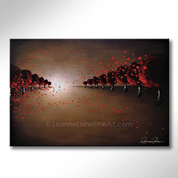 Leanne Laine Fine Art original artist painting of red trees blowing autumn leaves in windy nature