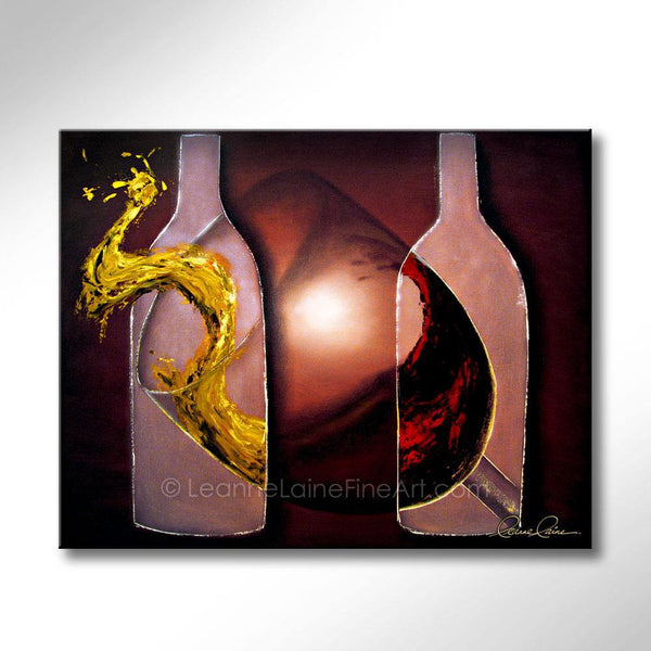 Leanne Laine Fine Art original artist painting of red and white wine pouring and splashing into large glass with bottles