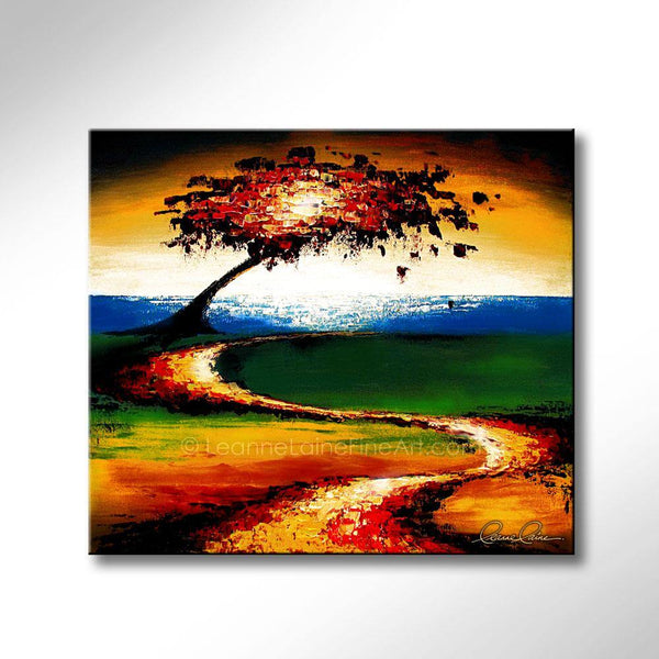 Leanne Laine Fine Art original artist painting of red green yellow and orange autumn leaves blowing by water trail