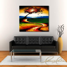 Leanne Laine Fine Art original artist painting displayed above couch of red green yellow and orange autumn leaves blowing by water trail
