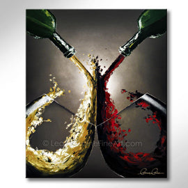 Leanne Laine Fine Art original artist painting of two glasses of red and white wine splashing and pouring from two green bottles