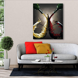 Leanne Laine Fine Art original artist painting displayed above couch of two glasses of red and white wine splashing and pouring from two green bottles