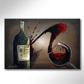 Leanne Laine Fine Art original artist painting of red wine glass splashing and pouring wine against bottle