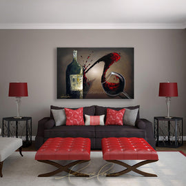 Leanne Laine Fine Art original artist painting displayed above couch of red wine glass splashing and pouring wine against bottle