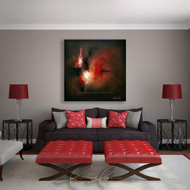 Leanne Laine Fine Art original artist painting displayed above couch of abstract red and white paint splashes