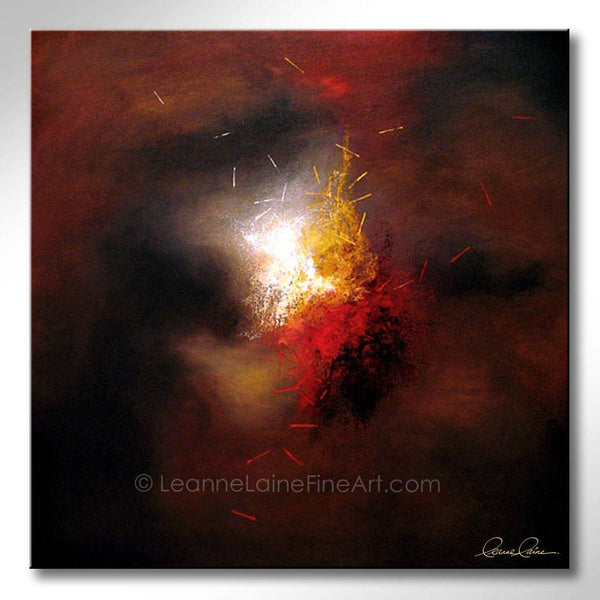 Leanne Laine Fine Art original artist painting of red yellow and white colors and shapes on abstract background