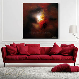 Leanne Laine Fine Art original artist painting displayed above couch of red yellow and white colors and shapes on abstract background