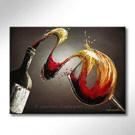 Leanne Laine Fine Art original artist painting of red and white wine splashing from bottle into glass