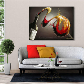Leanne Laine Fine Art original artist painting displayed above couch of red and white wine splashing from bottle into glass