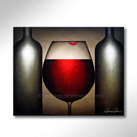 Leanne Laine Fine Art original artist painting of red wine glass with lipstick lips between two bottles