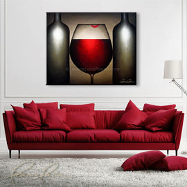Leanne Laine Fine Art original artist painting displayed above couch  of red wine glass with lipstick lips between two bottles