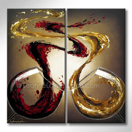 Leanne Laine Fine Art original artist painting of two large wine glasses pouring and splashing red and white wine